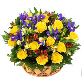 Цветы в корзинке «Загадочные огоньки»